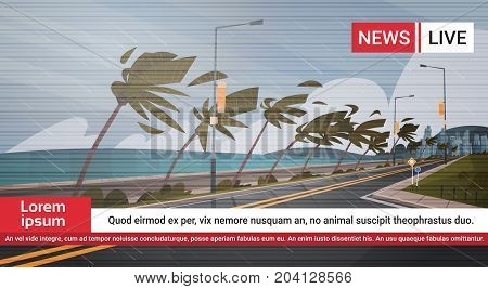 Live TV Broadcast Of Tornado Incoming From Sea News About Hurricane In Ocean Huge Wind Destroy Palm Trees And Road Tropical Natural Disaster Concept Flat Vector Illustration