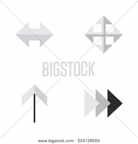 Elements Everyway, Widen, Onward And Other Synonyms Arrow, Resize And Enlarge.  Vector Illustration Set Of Simple Cursor Icons.