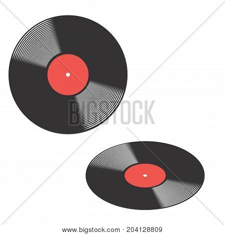 Vinyl record front view and perspective view with red label in the centre