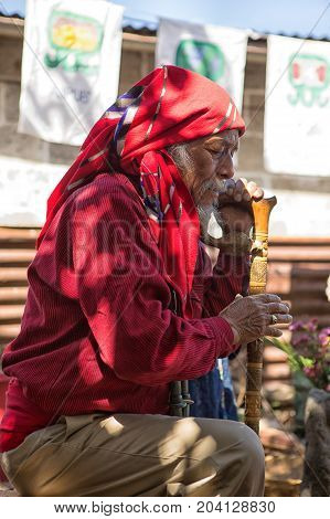 January 31 2015 San Pedro la Laguna Guatemala: tata Pedro Cruz one of the last authentic elderly Mayan shamans performing a ritual