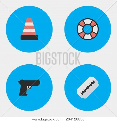 Elements Weapon, Lifesaver, Blade And Other Synonyms Shaver, Cone And Razor.  Vector Illustration Set Of Simple Offense Icons.