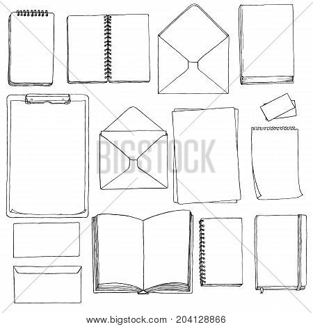 vector template of blanks and books, hand drawn mock ups, sketchbooks, envelops and business cards, painting illustration