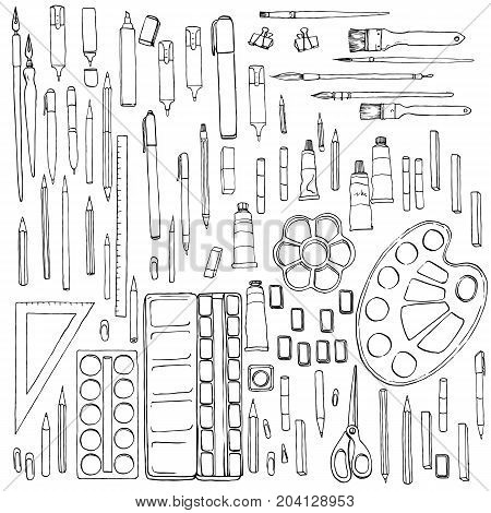 art materials, line drawing set of squirrel, bristle and synthetic brushes for painting and calligraphy and pencils, hand drawn watercolor illustration