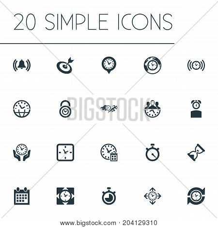 Elements Multitasking, Goal, Speedometer And Other Synonyms Day, Waiting And Meeting.  Vector Illustration Set Of Simple Management Icons.