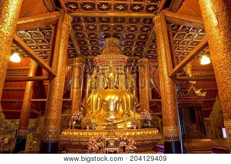 Nan THAILAND- August 21 2017 : Golden four Buddha image in main hall of Wat Phumin or Phu min Temple at Nan province NorthThailand