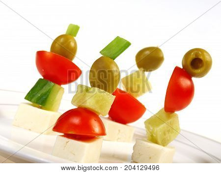 Canape Platter With Cheese, Cucumber,tomato,olives