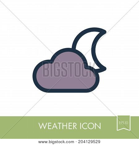 Cloud Moon outline icon. Sleep night dreams symbol. Meteorology. Weather. Vector illustration eps 10