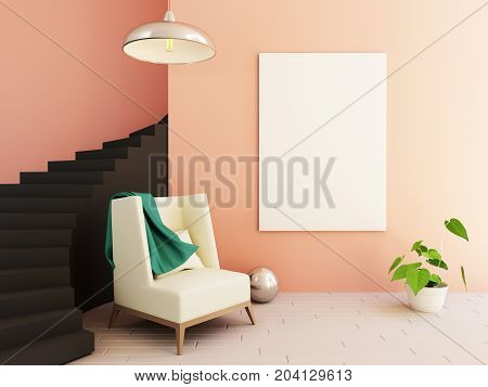 3d Interior mockup illustration, modern room with chair and hipster decoration, blank frame on wall