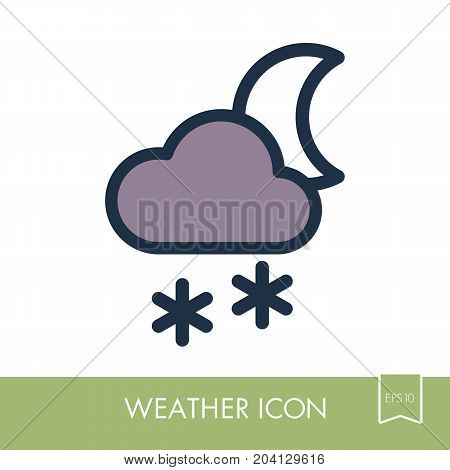 Cloud with Snow Moon outline icon. Sleep night dreams symbol. Meteorology. Weather. Vector illustration eps 10