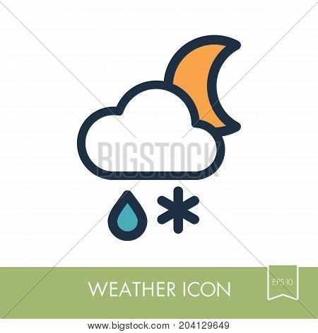 Cloud with Snow and Rain Moon outline icon. Sleep night dreams symbol. Meteorology. Weather. Vector illustration eps 10