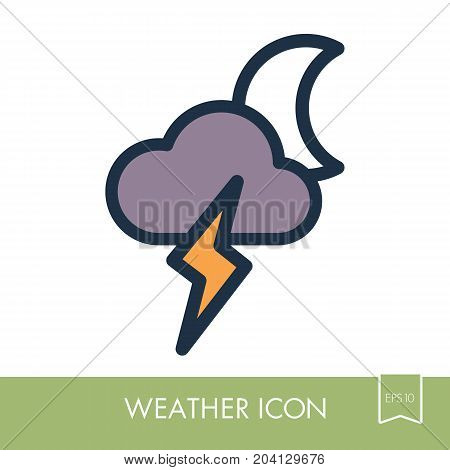 Moon Cloud Lightning outline icon. Sleep night dreams symbol. Meteorology. Weather. Vector illustration eps 10