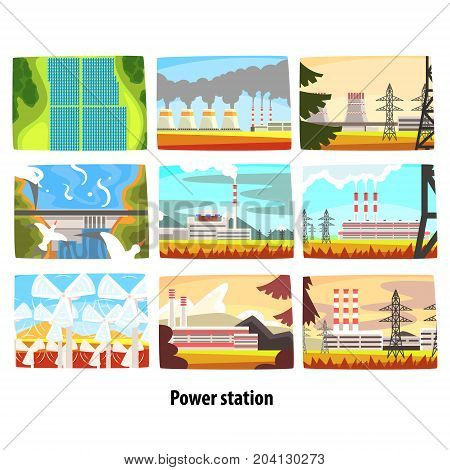 Power station set, ecological friendly low and zero emission power stations and energy producing plants colorful vector Illustrations