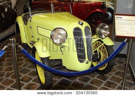 KRASNOHORSK RUSSIA-FEBRUARY 23 2016: BMW Dixi DA3 Wartburg at the Zadorozhnogo Museum of Engineering. Krasnogorsk Moscow region.