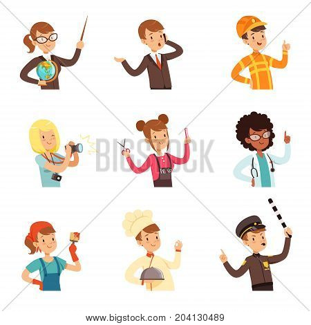 Young men and women of different professions set, people avatars collection colorful vector Illustrations on a white background