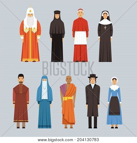 Religion people set, men and women of different religious confessions in traditional clothes vector Illustrations