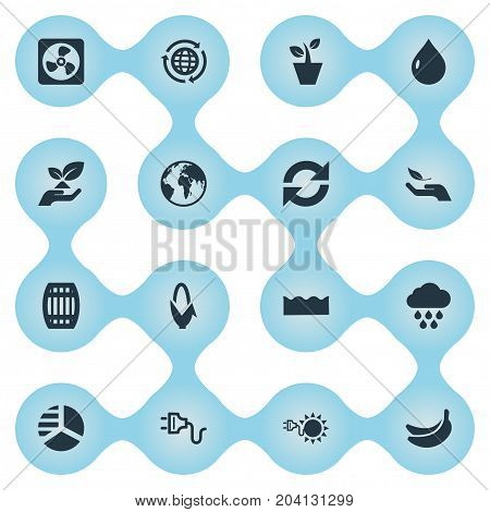 Elements Cooler, Diagram, Globe And Other Synonyms Drop, Rain And Reload.  Vector Illustration Set Of Simple Power Icons.