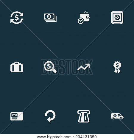 Elements Progress, Portfolio, Wallet And Other Synonyms Premium, Recycle And Atm.  Vector Illustration Set Of Simple Money Icons.