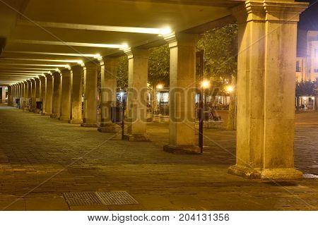 Nightlife In The Main Square Of Palencia, Castilla Y Leon, Spain