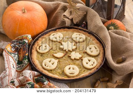 Pumpkin Pie Decorated For Halloween. Fresh Round Bright Orange Homemade Pumpkin Pie On Table.thanksg