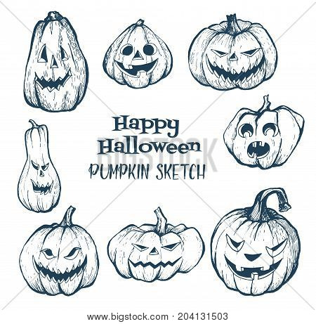 Set of halloween pumpkins with evil scary smile.Pumpkin sketch hand drawn illustration. Halloween night.