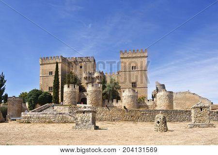 Castle And Church  Of Ampudia, Tierra De Campos, Palencia Province, Castilla Y Leon, Spain