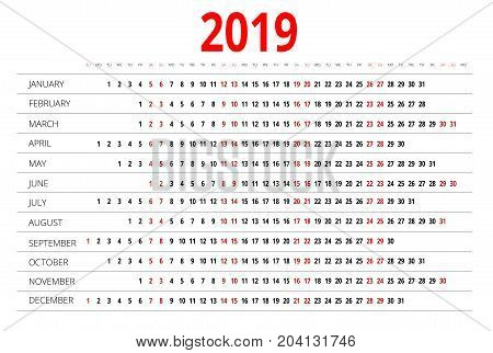 2019 calendar. Print Template. Week Starts Sunday. Portrait Orientation. Set of 12 Months. Planner for 2019 Year