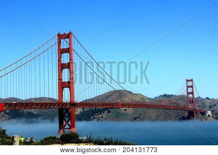 Classic Panoramic View Of Famous Golden Gate Bridge In Summer, San Francisco, California, Usa