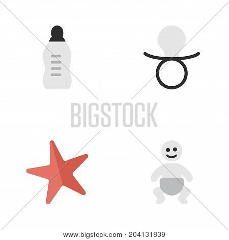 Elements Child, Vial, Toy And Other Synonyms Bottle, Baby And Child.  Vector Illustration Set Of Simple Infant Icons.