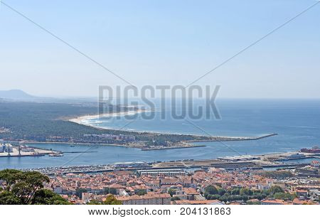 View Of The Town Of Viano Do Castelo From The Sanctuary Of Santa Luzia,  Portugal