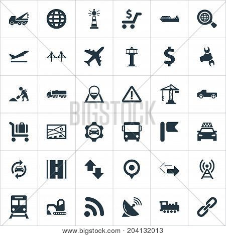 Elements Subway, Aviation, Cab And Other Synonyms Geography, Subway And Locomotive.  Vector Illustration Set Of Simple Infrastructure Icons.