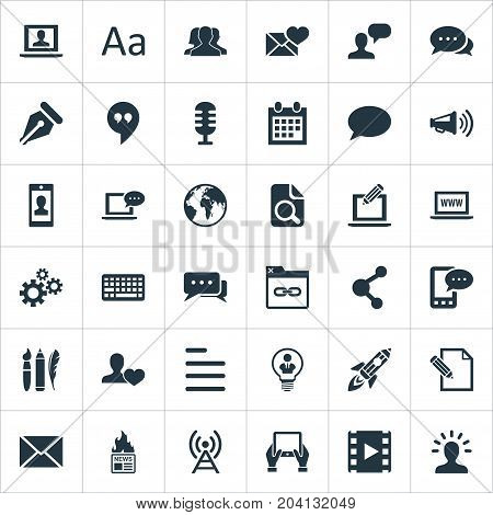 Elements Share, File, Announcement And Other Synonyms Quote, Comment And Alphabet.  Vector Illustration Set Of Simple Newspaper Icons.
