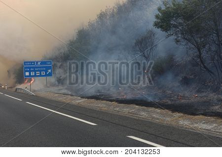 fire near the Galician town of Verin Spain