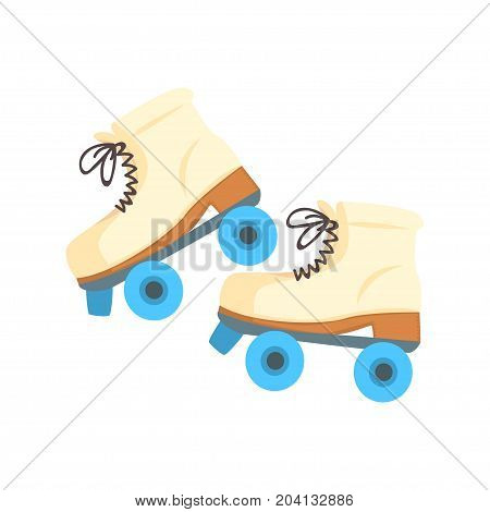 White roller blades with blue wheels cartoon vector Illustration on a white background