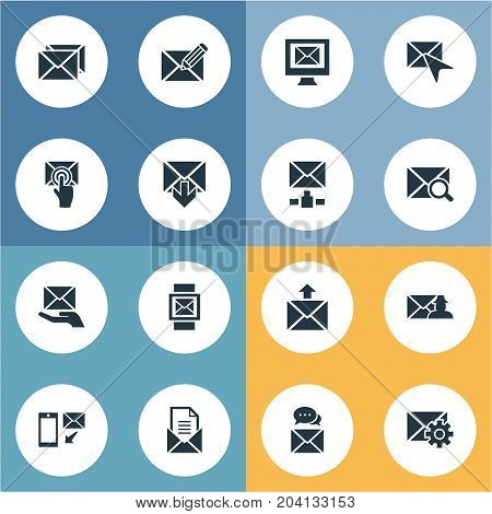 Elements Pages, Choose, Make Up And Other Synonyms Settings, Postal And Cursor.  Vector Illustration Set Of Simple Mail Icons.