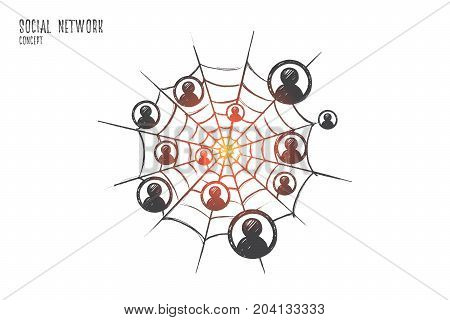 Social network concept. Hand drawn people icons in social network. Friends connected through internet isolated vector illustration.