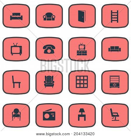 Elements Display, Chair, Stairway And Other Synonyms Vintage, Radio And Bookcase.  Vector Illustration Set Of Simple Furnishings Icons.