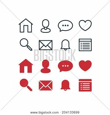 Set of social network pictographs, outlined and filled glyph for selected state
