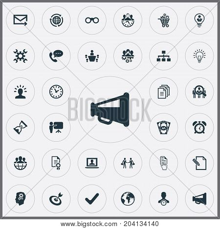 Elements Watch, Hand Cursor, Bubl Synonyms Hand, Mail And Advertising.  Vector Illustration Set Of Simple Brainstorming Icons.