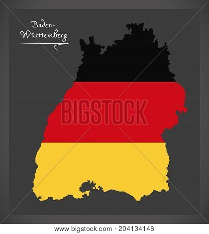 Baden-wuerttemberg Map Of Germany With German National Flag Illustration
