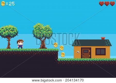 Pixel art game scene with ground, grass, trees, coins, hearts, sky, character and house
