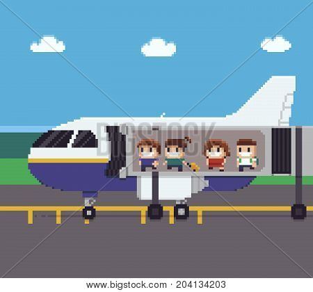 Pixel art scene with people moving through jet bridge while boarding on the aircraft