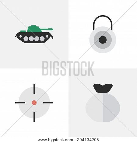Elements Military, Lock, Moneybox And Other Synonyms Military, Sack And Bag.  Vector Illustration Set Of Simple Offense Icons.