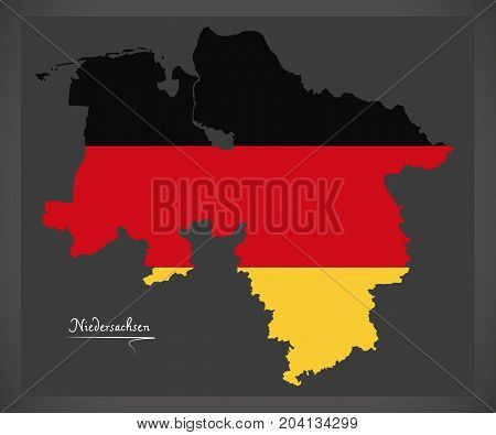 Niedersachsen Map Of Germany With German National Flag Illustration