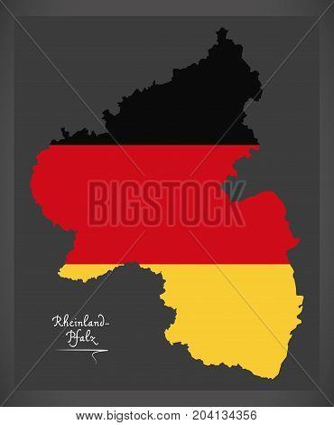 Rheinland-pfalz Map Of Germany With German National Flag Illustration