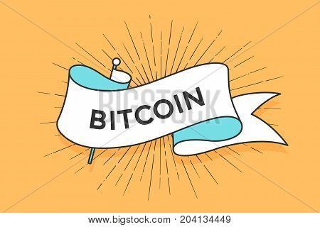 Poster or banner with ribbon and word Bitcoin. White trendy ribbon banner in trendy style for greeting card or web banner on colorful yellow background. Vector Illustration