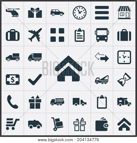 Elements Complete, Package, Caravan And Other Synonyms Outsource, Caravan And Opposite.  Vector Illustration Set Of Simple Surrender Icons.