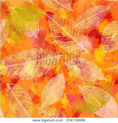 An autumn vector background with vibrant red, yellow, and orange painterly brush strokes and leaves silhouettes. An abstract artistic fall texture