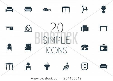 Elements Sofa, Bench, Contemporary Design And Other Synonyms Divan, Looking-Glass And Furniture.  Vector Illustration Set Of Simple Furniture Icons.