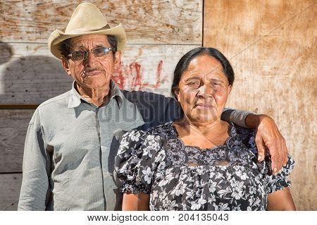 February 4 2015 San Pedro la Laguna Guatemala: portrait of a Maya man and woman in the small indigenous town