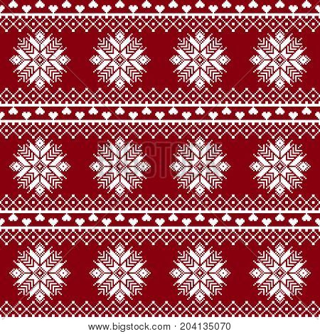Seamless fabric. The occasion. Merry Christmas and happy New year. Pixels. White and red color. Background gift wrapping design pattern ornament background website Stock vector
